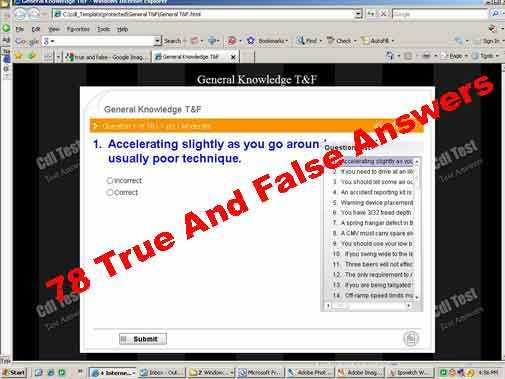 INDIANA CDL General True and False Quiz